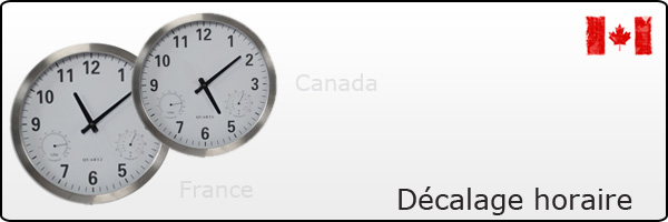 Décalage horaire France Canada