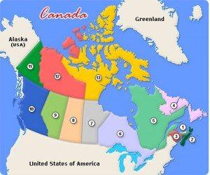 Carte des provinces et territoires du Canada