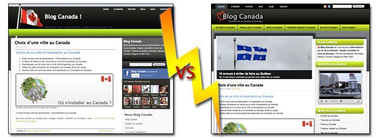 Ancien Vs nouveau design de Blog Canada
