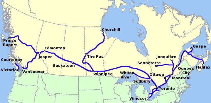 Lignes ferroviaires du train canadien avec Via Rail Canada