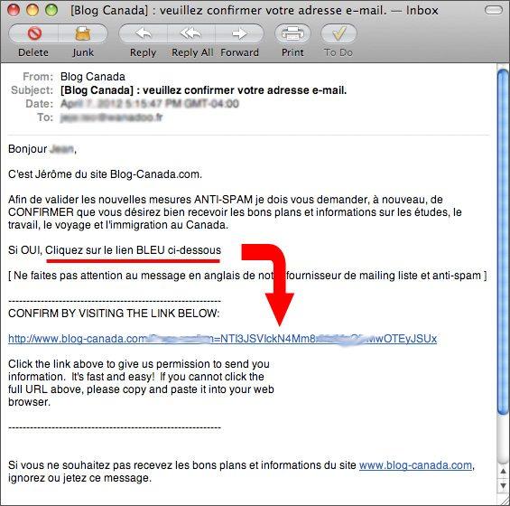 Pour confirmer votre inscription, cliquez sur le lien bleu dans l'e-mail qui vous a été envoyé