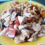 Pates, poulet et crevettes
